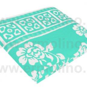 Одеяло байковое жаккард Бирюза «Ермолино» 150*215 всесезонное, АльВиТек