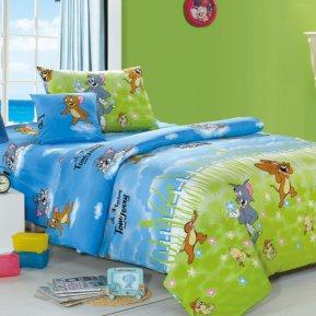 «C51 Том и Джерри» 1,5 - спальное постельное белье, ПОПЛИН, СайлиД