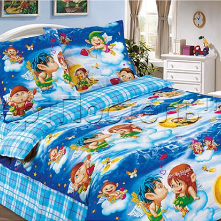 «Амуры (голубой)» 1,5 - спальное постельное белье, Поплин, Арт Дизайн