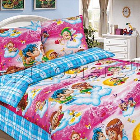 «Амуры (розовый)» 1,5 - спальное постельное белье, Поплин, Арт Дизайн