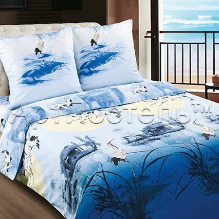 Постельное белье «Журавли» двуспальное с европростыней, Поплин, Арт Дизайн