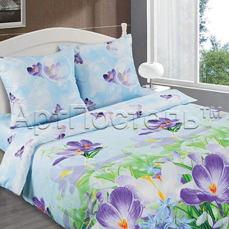 Постельное белье «Крокус» двуспальное с европростыней, Поплин, Арт Дизайн