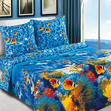 Постельное белье «Океан» двуспальное с европростыней, Поплин, Арт Дизайн