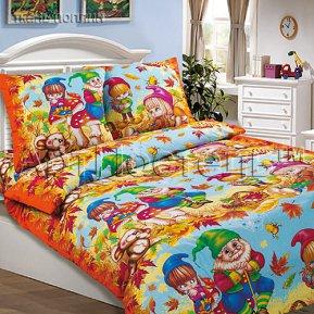 «Осенняя сказка (голубой)» 1,5 - спальное постельное белье, ПОПЛИН, Арт Дизайн