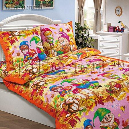 «Осенняя сказка (розовый)» 1,5 - спальное постельное белье, Поплин, Арт Дизайн