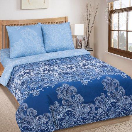 Постельное белье «Синий узор» двуспальное с европростыней, Поплин, Арт Дизайн