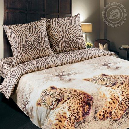 Постельное белье «Леопард» семейное, Поплин, Арт Дизайн