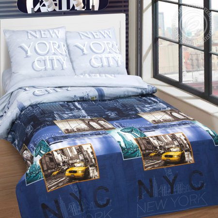 Постельное белье «Нью-Йорк» 1,5 - спальное, Поплин, Арт Дизайн