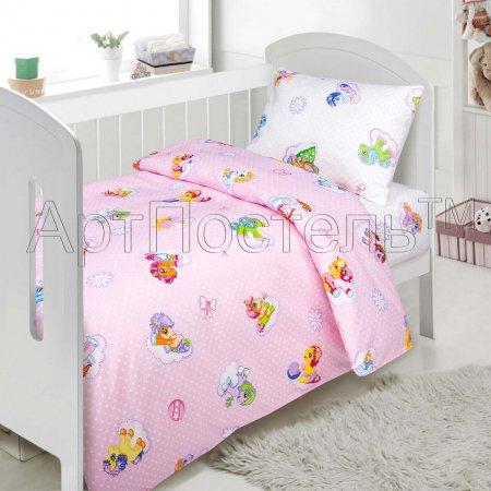 «Бусинка (розовый)» дет. кроватка постельное белье, Поплин, Арт Дизайн