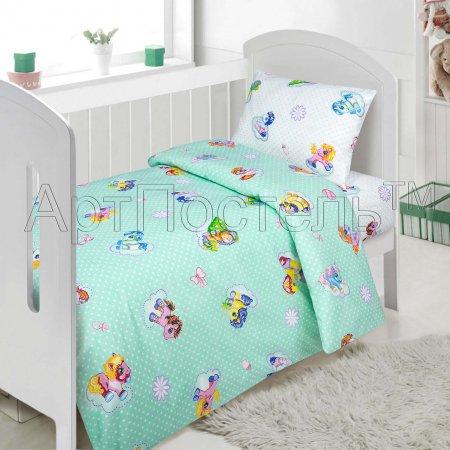 «Бусинка (зеленый)» дет. кроватка постельное белье, Поплин, Арт Дизайн