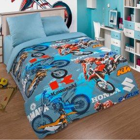 «Мотокросс» 1,5 - спальное постельное белье, ПОПЛИН, Арт Дизайн
