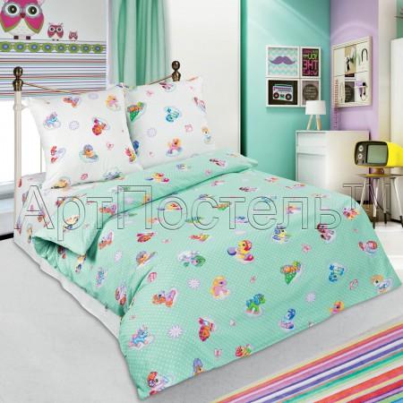 «Бусинка (зеленый)» 1,5 - спальное постельное белье, Поплин, Арт Дизайн