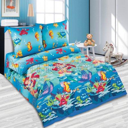 «Морская сказка» 1,5 - спальное постельное белье, Поплин, Арт Дизайн