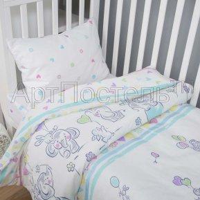 «Слоники» дет. кроватка постельное белье, ПОПЛИН, Арт Дизайн