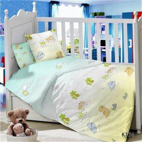 «KT-74 Динозаврики» дет. кроватка постельное белье, Сатин, АльВиТек