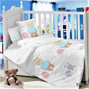«KT-85 Зайка с Мишкой» дет. кроватка постельное белье, Сатин, АльВиТек