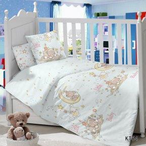 «KT-54 Спящий мишка на луне» дет. кроватка постельное белье, Сатин, АльВиТек