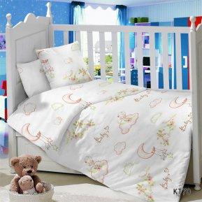 «KT-70 Облачка» дет. кроватка постельное белье, Сатин, АльВиТек