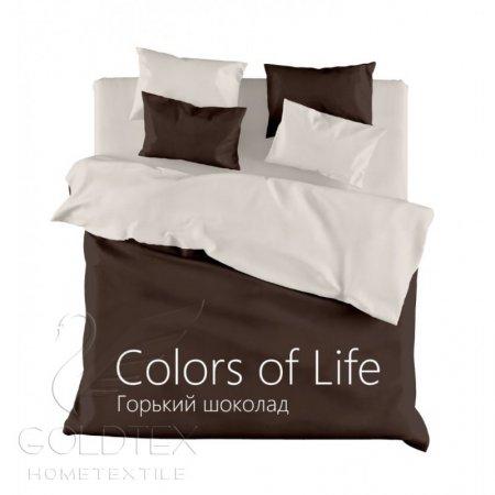 Постельное белье «Горький шоколад» семейное, Сатин, Goldtex