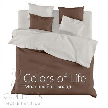 Постельное белье «Молочный шоколад» двуспальное с европростыней, Сатин, Goldtex