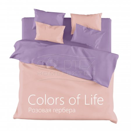 Постельное белье «Розовая гербера» двуспальное с европростыней, Сатин, Goldtex