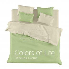 «Зеленая листва» двуспальное с европростыней постельное белье, САТИН, Goldtex
