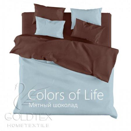 Постельное белье «Мятный шоколад» ЕВРО, Сатин, Goldtex