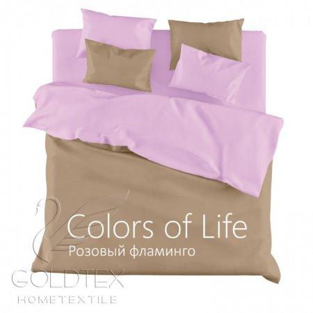 Постельное белье «Розовый фламинго» ЕВРО, Сатин, Goldtex