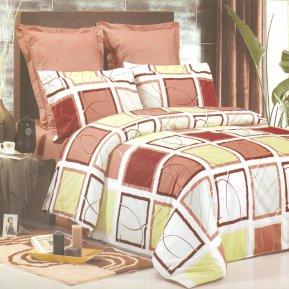 «B75» двуспальное+Евро постельное белье, Сатин, СайлиД