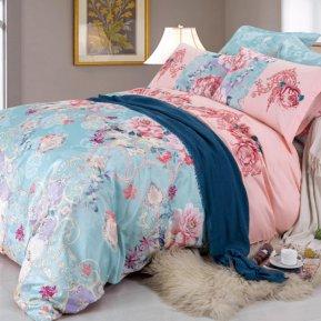 «D-182» двуспальное с европростыней постельное белье, Сатин, СайлиД