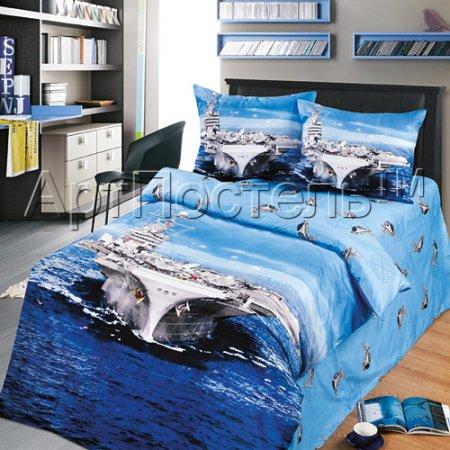 «Авианосец» 1,5 - спальное постельное белье, Сатин, Арт Дизайн