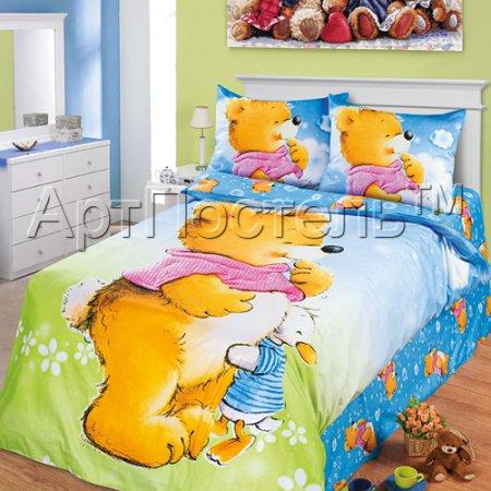 «Давай дружить (голубой)» 1,5 - спальное постельное белье, Сатин, Арт Дизайн