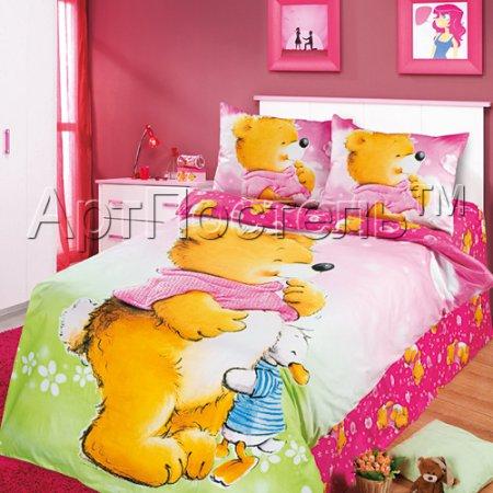 «Давай дружить (розовый)» 1,5 - спальное постельное белье, Сатин, Арт Дизайн