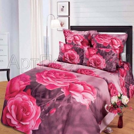 Постельное белье «Дикая роза» двуспальное с европростыней, Сатин, Арт Дизайн