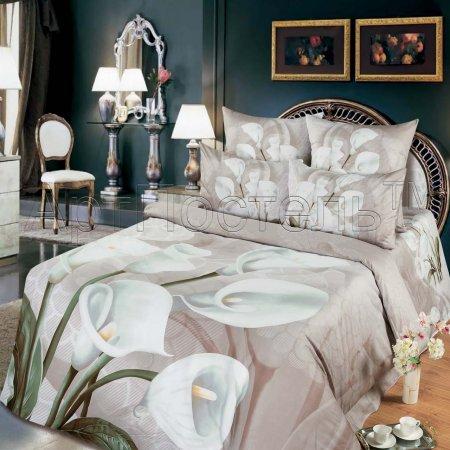 Постельное белье «Каллы» двуспальное с европростыней, Сатин, Арт Дизайн