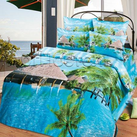 Постельное белье «Мальдивы №3» двуспальное с европростыней, Сатин, Арт Дизайн