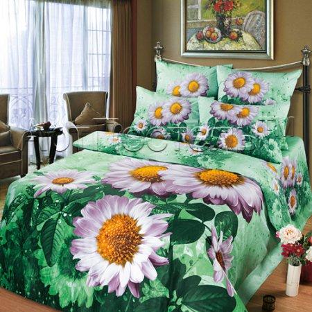 Постельное белье «Маргаритка» двуспальное с европростыней, Сатин, Арт Дизайн