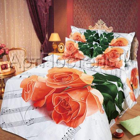 Постельное белье «Мелодия любви» двуспальное с европростыней, Сатин, Арт Дизайн