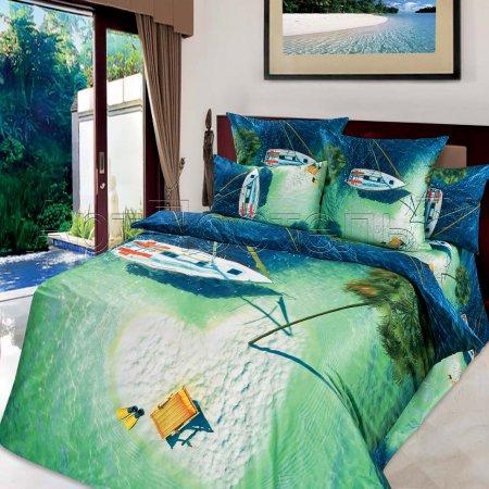 Постельное белье «Райский остров» двуспальное с европростыней, Сатин, Арт Дизайн