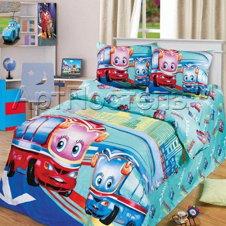 «Счастливые каникулы» 1,5 - спальное постельное белье, Сатин, Арт Дизайн