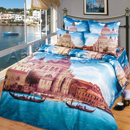 Постельное белье «Венеция» двуспальное с европростыней, Сатин, Арт Дизайн
