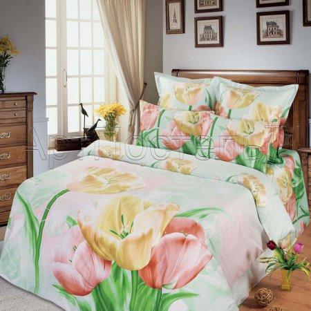 Постельное белье «Весенний цветок» двуспальное с европростыней, Сатин, Арт Дизайн