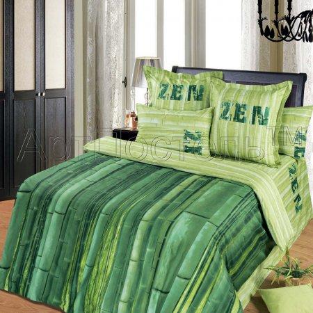 Постельное белье «Зелёный тростник» двуспальное с европростыней, Сатин, Арт Дизайн