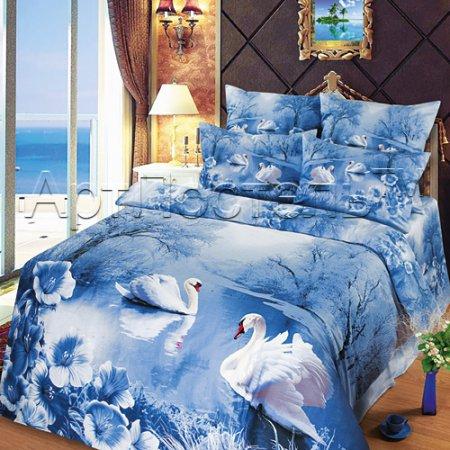 Постельное белье «Зимняя сказка» двуспальное с европростыней, Сатин, Арт Дизайн