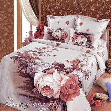 Постельное белье «Золотистая роза» двуспальное с европростыней, Сатин, Арт Дизайн