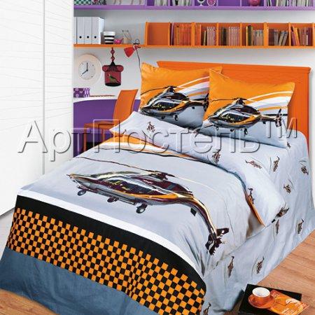 «Вертолёт» 1,5 - спальное постельное белье, Сатин, Арт Дизайн