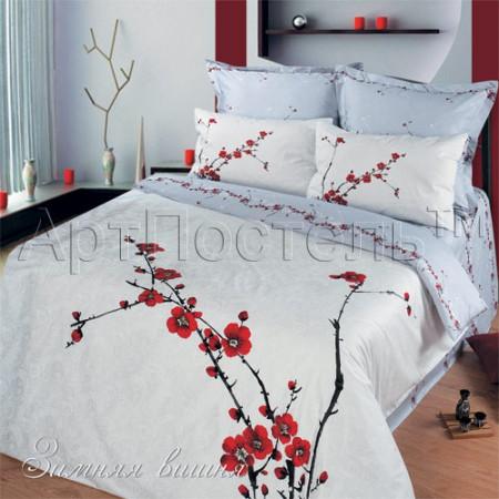 Постельное белье «Зимняя вишня» 1,5 - спальное, Сатин, Арт Дизайн