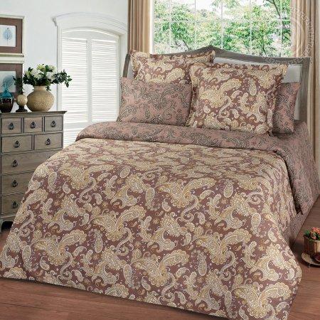 Постельное белье «Эммануэль коричневый» двуспальное с европростыней, Сатин, Арт Дизайн